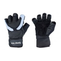 Перчатки черные со вставками с фиксатором запястья
